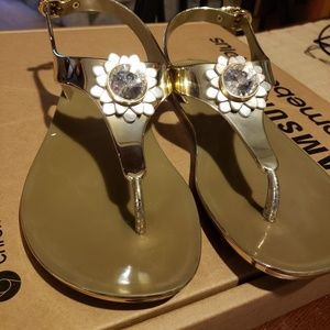 Michael Kors Shoes - Michael Kors Miley gold Jelly Sandal Like New
